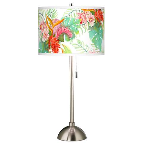 Island Floral Giclee Brushed Steel Table Lamp
