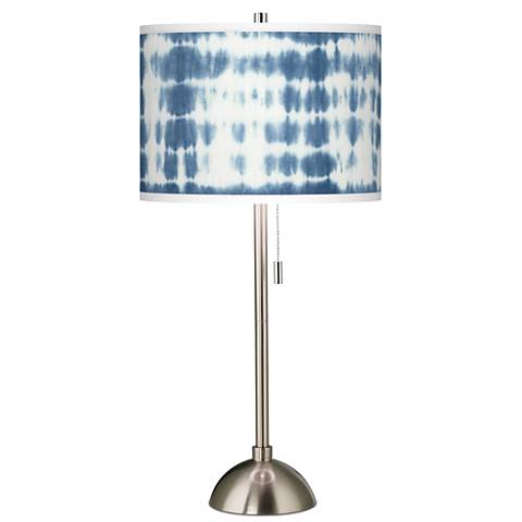 Shibori Surf Giclee Brushed Steel Table Lamp