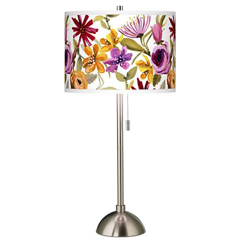 Bountiful Blooms Giclee Brushed Steel Table Lamp