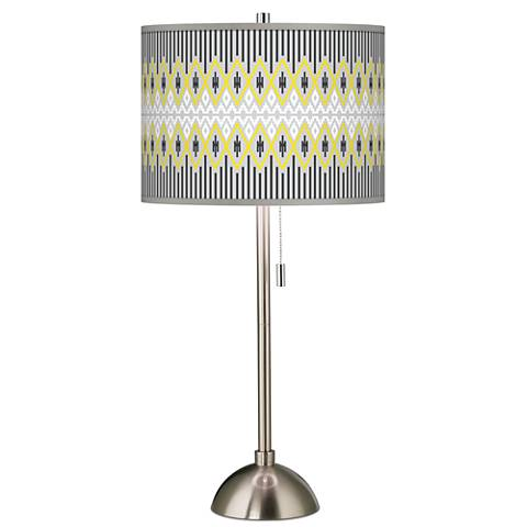 Desert Geometric Giclee Brushed Steel Table Lamp