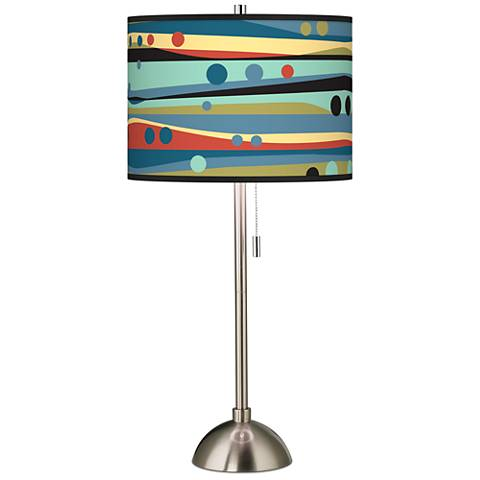 Retro Dots and Waves Giclee Brushed Steel Table Lamp
