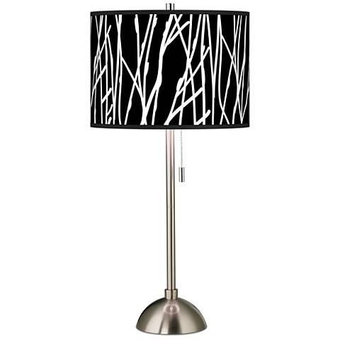 Stacy Garcia Twiggy Black Giclee Brushed Steel Table Lamp