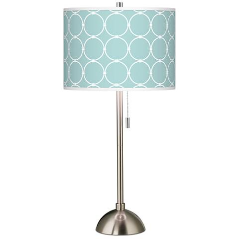 Aqua Interlace Giclee Brushed Steel Table Lamp