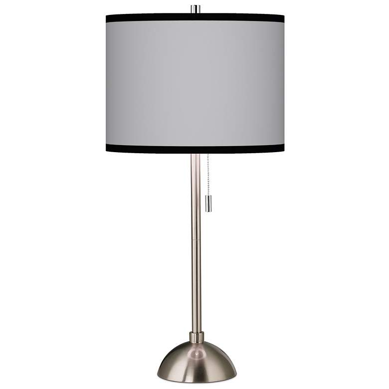 Brushed Nickel Contemporary Table Lamp with Opaque Shade