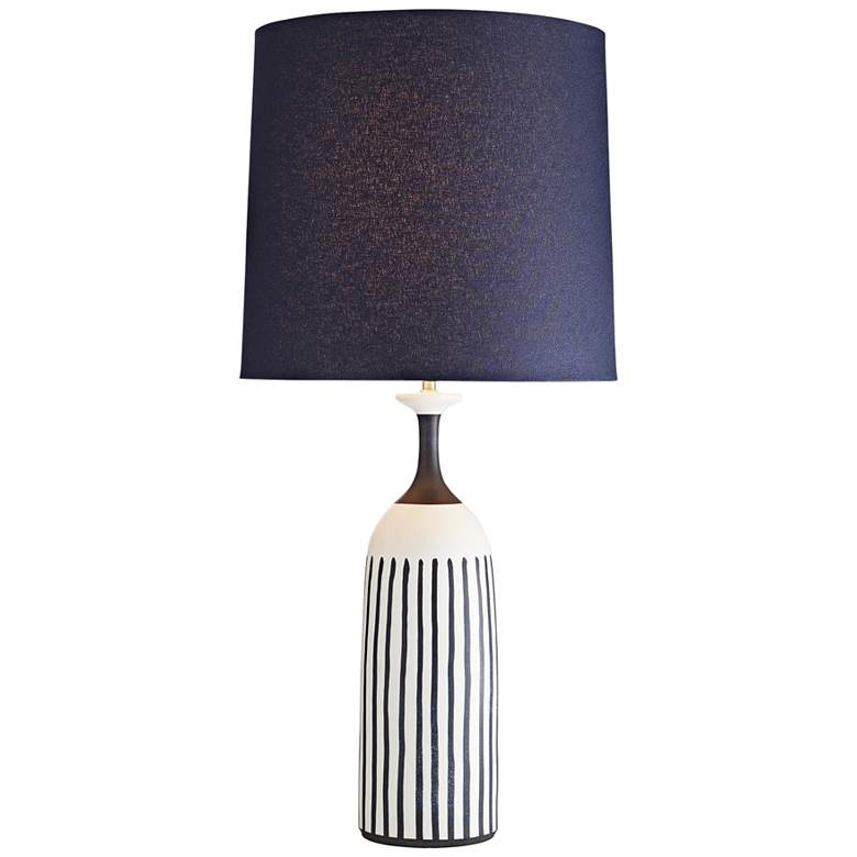 Marbella Satin White w/ Indigo Stripes Porcelain Table Lamp