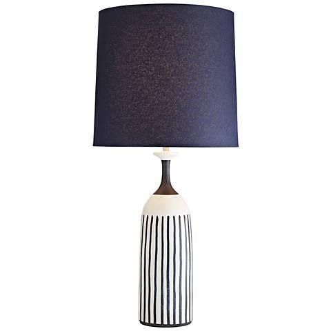 Marbella Satin White w/ Indigo Stripes Porcelain Table Lamp