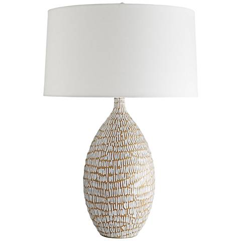 Meredith White Stained Crackle with Terra Cotta Table Lamp