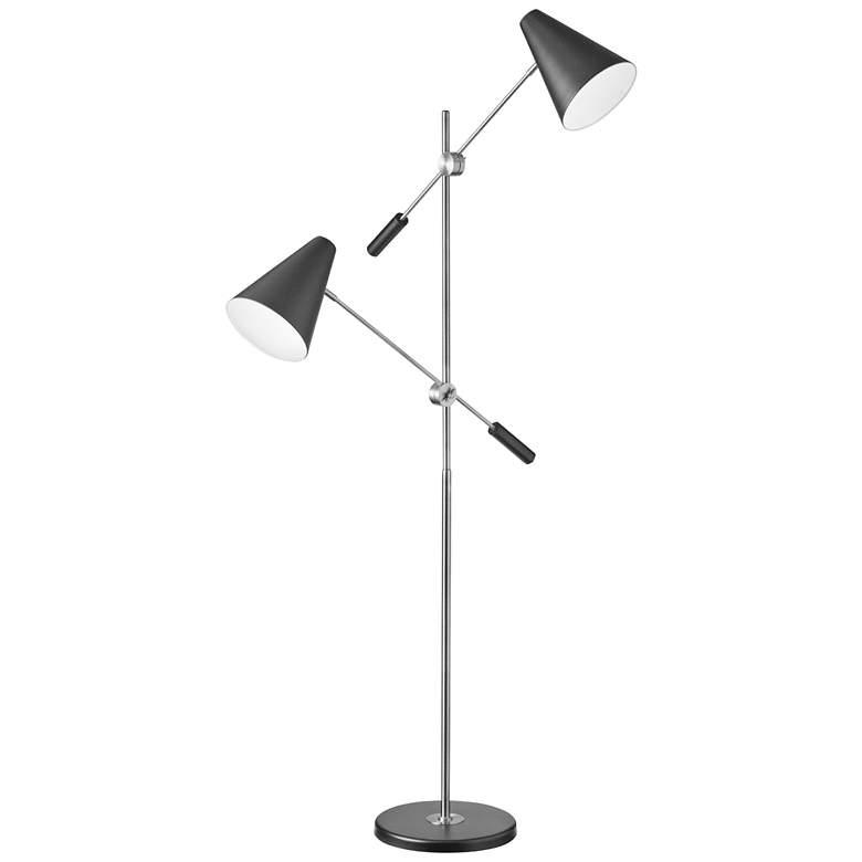 Mezza Polished Chrome 2-Light Modern Floor Lamp