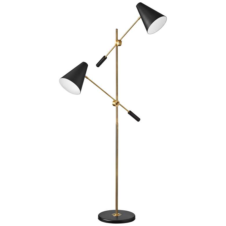 Mezza Vintage Bronze 2-Light Modern Floor Lamp