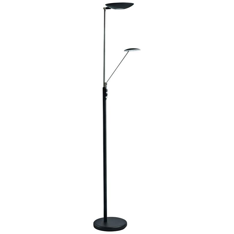 Mother and Son Black Metal LED Torchiere Floor Lamp