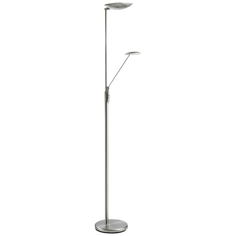 Mother and Son Satin Chrome Metal LED Torchiere Floor Lamp