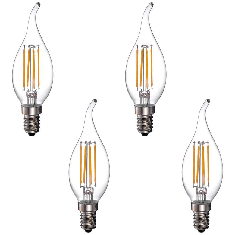 40W Equivalent 4W LED Dimmable Flame-Tip Candelabra 4-Pack