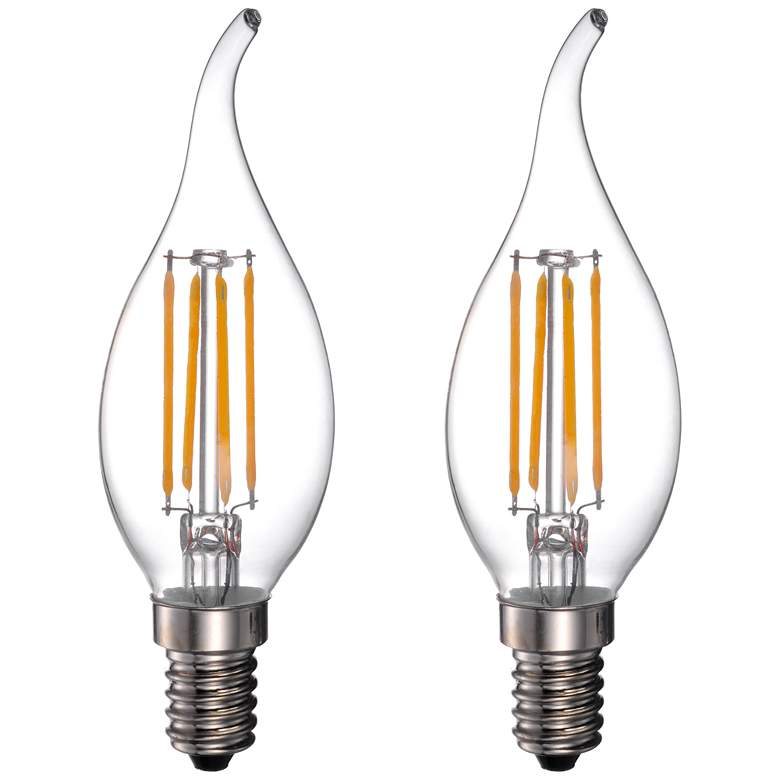 40W Equivalent 4W LED Dimmable Flame-Tip Candelabra 2-Pack