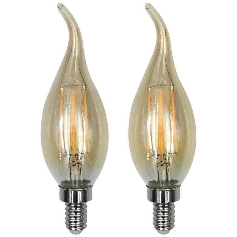 60W Equivalent Amber 6W LED Flame Tip Candelabra 2-Pack