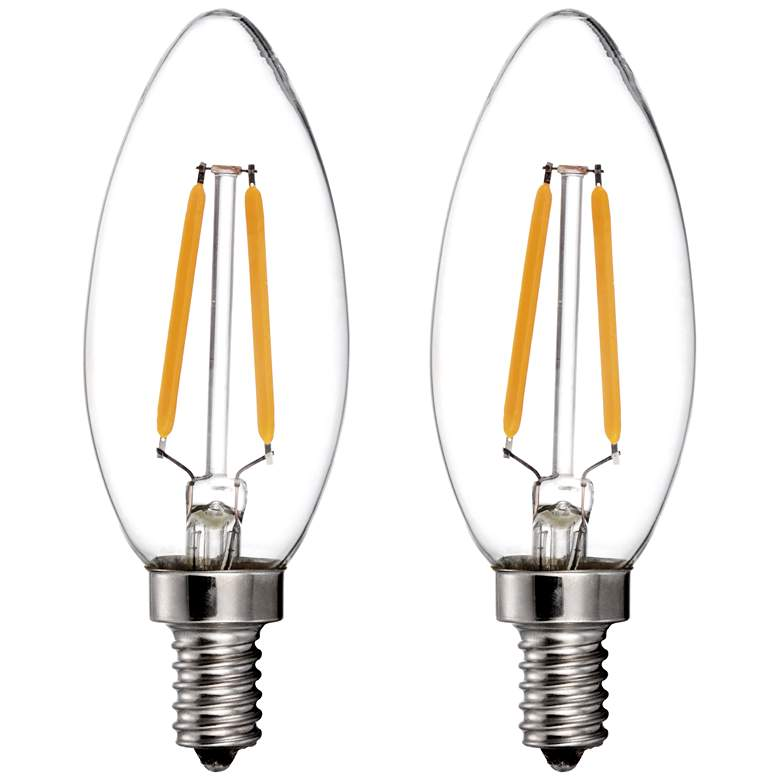 25W Equivalent LED Filament 2W Candelabra Bulbs -
