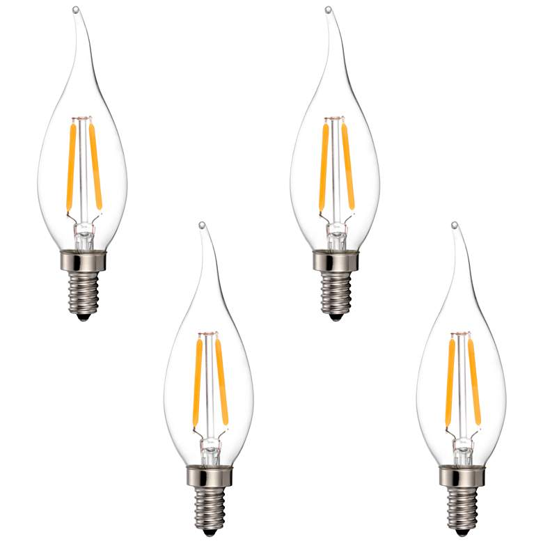 25W Equivalent Clear 2W LED Dimmable Candelabra Bulb