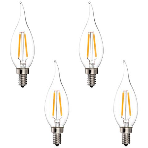 25W Equivalent Clear 2W LED Dimmable Candelabra Bulb 4-Pack