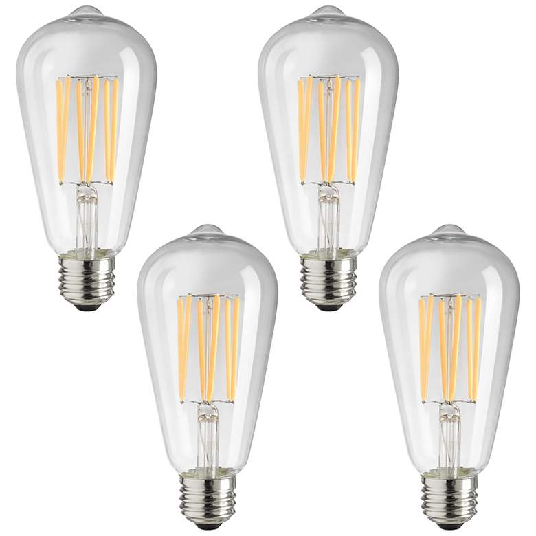 75w Equivalent Clear 8w Led Dimmable Edison Bulb 4 Pack