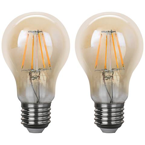 40W Equivalent Amber 4W LED Filament Standard A19 2-Pack