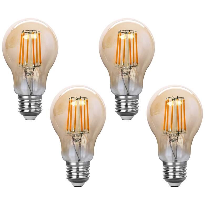 75W Equivalent Amber 8W LED Filament Standard A19 4-Pack