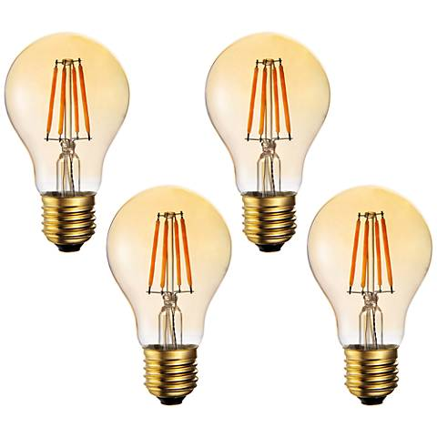 60W Equivalent Amber 7W LED Filament A19 Standard 4-Pack