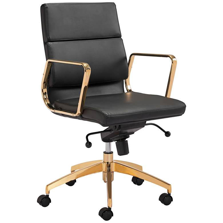 Scientist Black and Gold Low Back Adjustable Office Chair