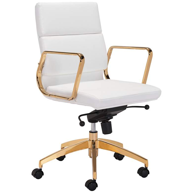 Scientist White and Gold Low Back Adjustable Office Chair