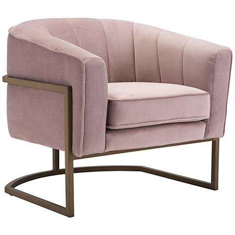 Zuo Lyric Pink Velvet Occasional Chair