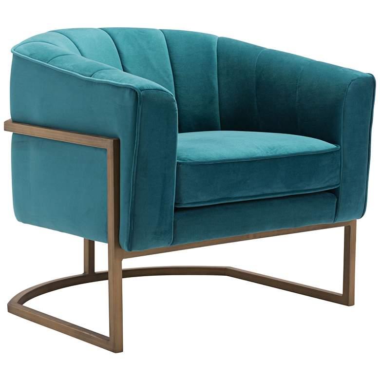 Zuo Lyric Green Velvet Occasional Chair