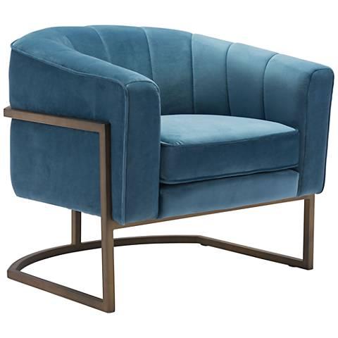 Zuo Lyric Blue Velvet Occasional Chair
