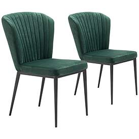 bd91c59114315 Zuo Tolivere Green Velvet Dining Chairs Set of 2
