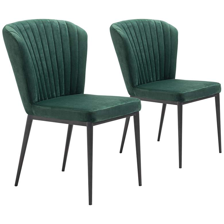 Zuo Tolivere Green Velvet Dining Chairs Set of 2