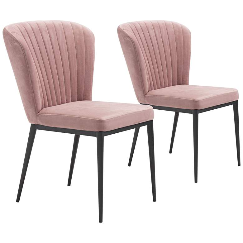 Zuo Tolivere Pink Velvet Dining Chairs Set of 2