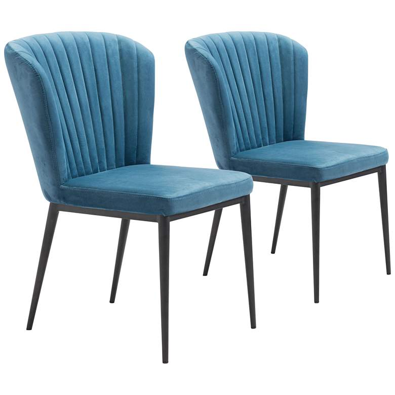 Zuo Tolivere Blue Velvet Dining Chairs Set of 2