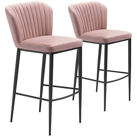 Zuo Tolivere Pink Velvet Armless Bar Chairs Set of 2