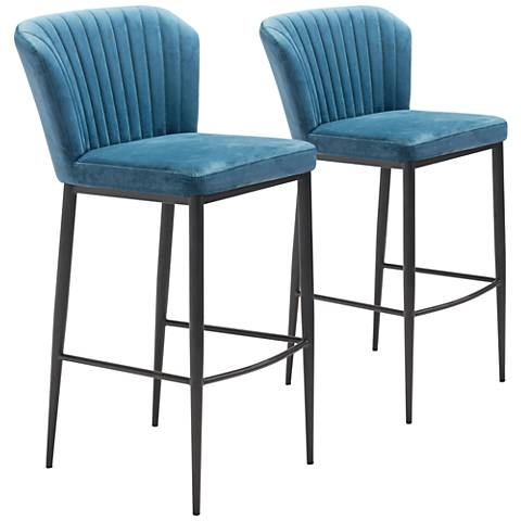 Zuo Tolivere Blue Velvet Armless Bar Chairs Set of 2