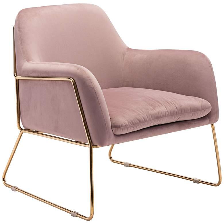 Fantastic Zuo Nadir Pink Velvet Accent Armchair Machost Co Dining Chair Design Ideas Machostcouk