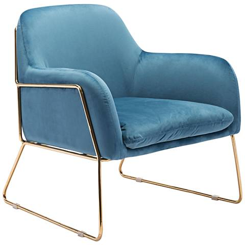 Zuo Nadir Blue Velvet Accent Armchair