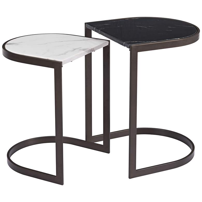 Stanton Black and White Nesting End Tables 2-Piece Set