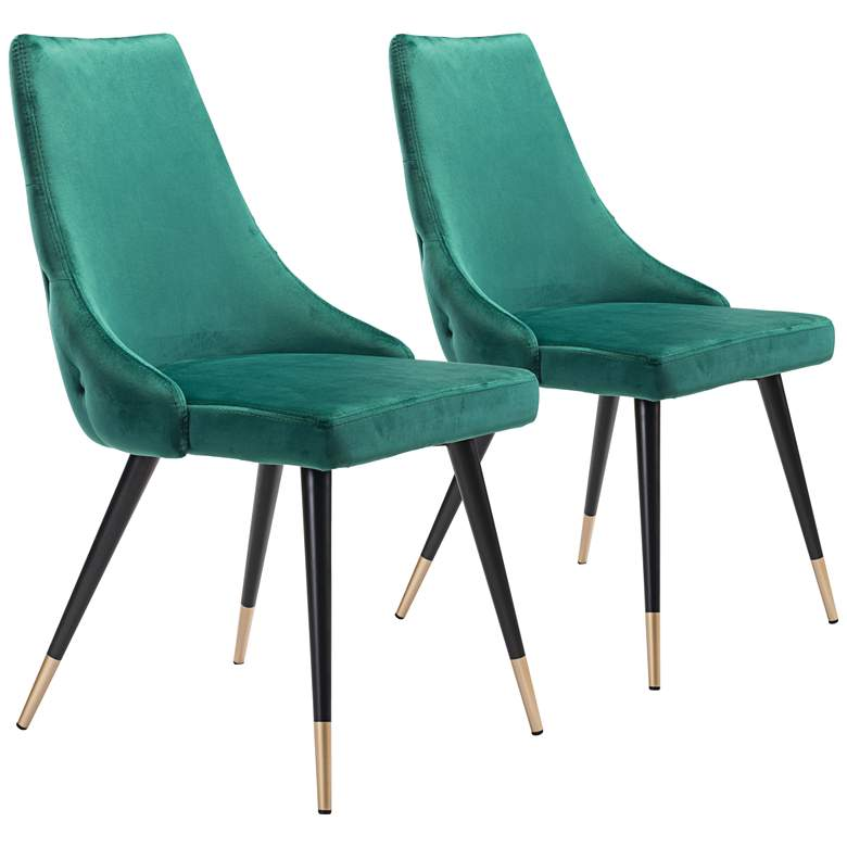 Zuo Piccolo Green Velvet Tufted Dining Chairs Set of 2