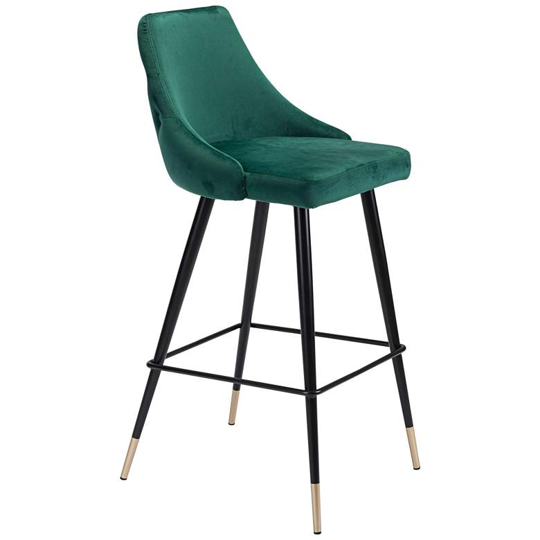 Zuo Piccolo Tufted Green Velvet Armless Bar Chair
