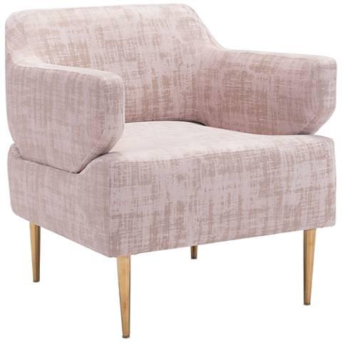 Zuo Oasis Pink Velvet Armchair