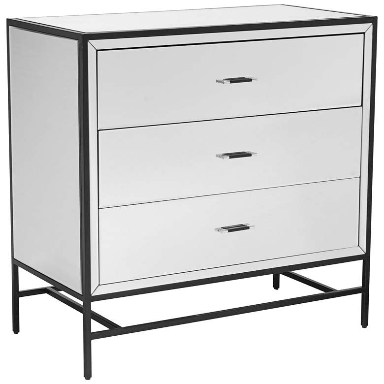 """Upton 36"""" Wide Mirrored 3-Drawer Accent Cabinet"""