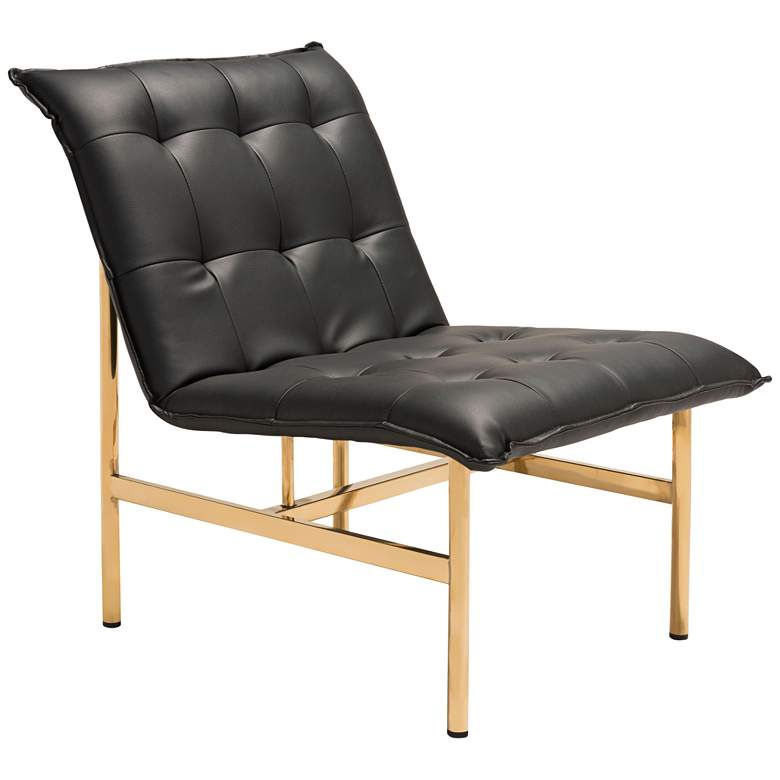 Zuo Slate Black and Gold Tufted Armless Lounge Chair
