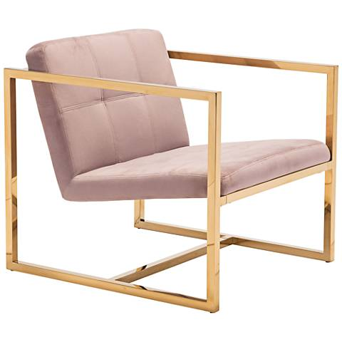 Zuo Alt Pink Velvet Tufted Armchair