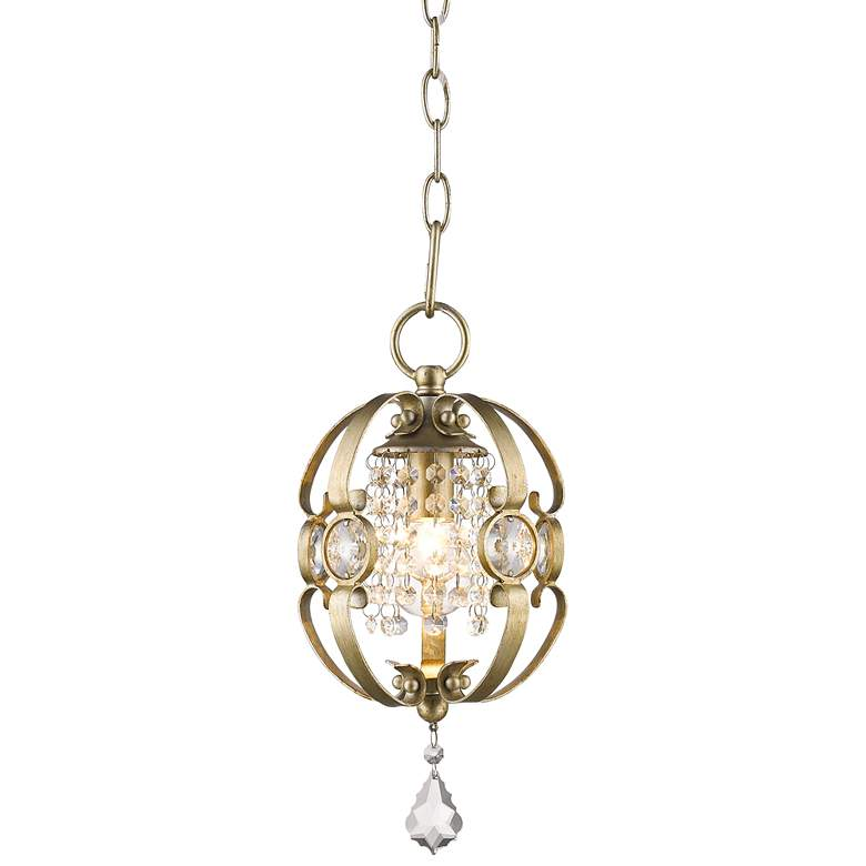 "Ella 7"" Wide White Gold and Crystal Mini Pendant"