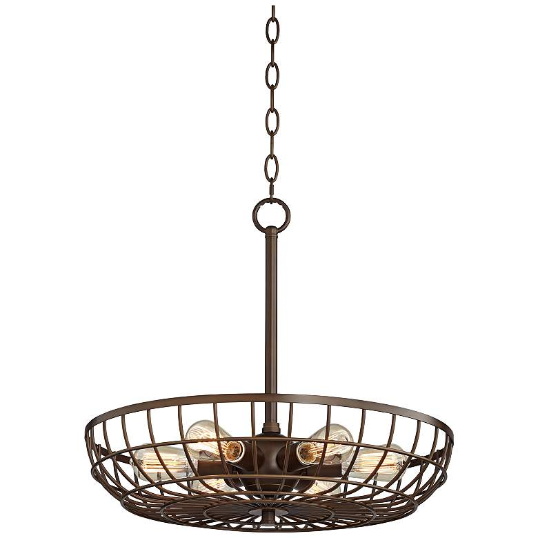 "Crane 22"" Wide Oil-Rubbed Bronze 6-light Cage Basket Pendant"