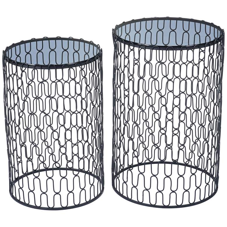 Zuo Amelia Black Round Side Tables Set of 2