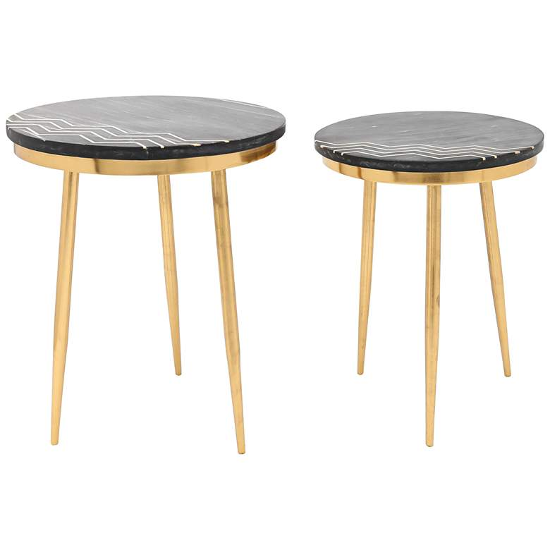 Zuo Rumi Black Marble Round Modern Accent Tables - Set of 2