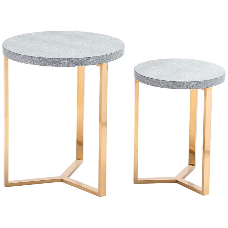 Zuo Gela Gray Leatherette Round Accent Tables Set of 2